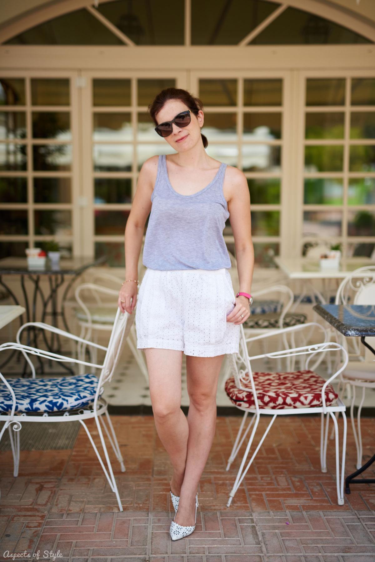 Zara tank top and H&M white shorts